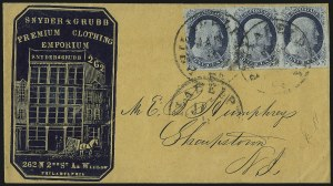 Sale Number 998, Lot Number 272, Plate One Late On Cover1c Blue, Ty. IV (9), 1c Blue, Ty. IV (9)