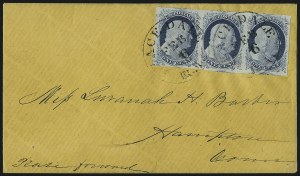Sale Number 998, Lot Number 276, Plate One Late On Cover1c Blue, Ty. IV (9), 1c Blue, Ty. IV (9)