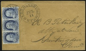 Sale Number 998, Lot Number 277, Plate One Late On Cover1c Blue, Ty. IV (9), 1c Blue, Ty. IV (9)