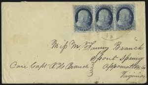 Sale Number 998, Lot Number 279, Plate One Late On Cover1c Blue, Ty. IV (9), 1c Blue, Ty. IV (9)
