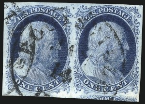 Sale Number 998, Lot Number 28, Plate One Early - Type II Gem Examples1c Blue, Ty. II (7), 1c Blue, Ty. II (7)