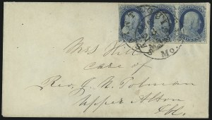 Sale Number 998, Lot Number 281, Plate One Late On Cover1c Blue, Ty. IV (9), 1c Blue, Ty. IV (9)