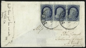 Sale Number 998, Lot Number 282, Plate One Late On Cover1c Blue, Ty. IV (9), 1c Blue, Ty. IV (9)