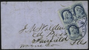 Sale Number 998, Lot Number 283, Plate One Late On Cover1c Blue, Ty. IV (9), 1c Blue, Ty. IV (9)