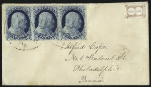 Sale Number 998, Lot Number 284, Plate One Late On Cover1c Blue, Ty. IV (9), 1c Blue, Ty. IV (9)