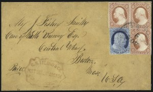 Sale Number 998, Lot Number 286, Plate One Late On Cover1c Blue, Ty. IV, 3c Dull Red, Ty. II (9, 11A), 1c Blue, Ty. IV, 3c Dull Red, Ty. II (9, 11A)