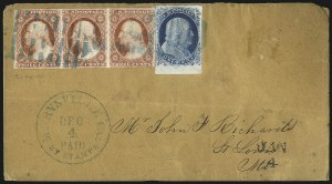 Sale Number 998, Lot Number 289, Plate One Late On Cover1c Blue, Ty. IV (9), 1c Blue, Ty. IV (9)