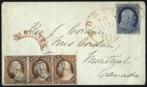 Sale Number 998, Lot Number 291, Plate One Late On Cover1c Blue, Ty. IV (9), 1c Blue, Ty. IV (9)