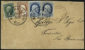Sale Number 998, Lot Number 292, Plate One Late On Cover10c Green, Ty. I (13), 10c Green, Ty. I (13)