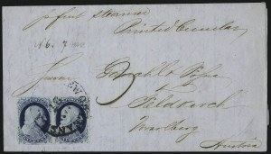 Sale Number 998, Lot Number 300, Plate One Late On Cover1c Blue, Ty. IV (9), 1c Blue, Ty. IV (9)