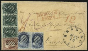 Sale Number 998, Lot Number 304, Plate One Late On Cover10c Green, Ty. II (14), 10c Green, Ty. II (14)