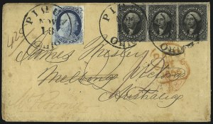Sale Number 998, Lot Number 306, Plate One Late On Cover12c Black (17), 12c Black (17)