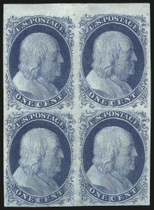 Sale Number 998, Lot Number 309, Plate Two Unused1c Blue, Ty. II (7), 1c Blue, Ty. II (7)