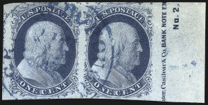 Sale Number 998, Lot Number 312, Plate Two Imprints1c Blue, Ty. II (7), 1c Blue, Ty. II (7)
