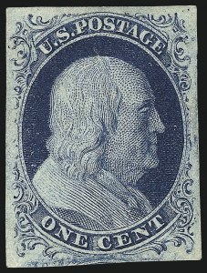 Sale Number 998, Lot Number 326, Plate Two Gem Examples1c Blue, Ty. II (7), 1c Blue, Ty. II (7)