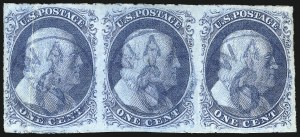 Sale Number 998, Lot Number 39, Plate One Early - Type II Gem Examples1c Blue, Ty. II (7), 1c Blue, Ty. II (7)