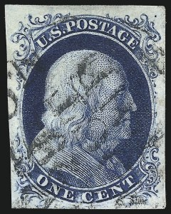 Sale Number 998, Lot Number 427, Plate Four Type II1c Blue, Ty. II (7), 1c Blue, Ty. II (7)