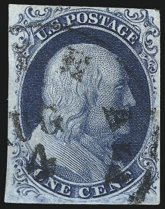 Sale Number 998, Lot Number 428, Plate Four Type II1c Blue, Ty. II (7), 1c Blue, Ty. II (7)