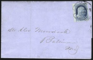 Sale Number 998, Lot Number 43, Plate One Early - Type II On Cover1c Blue, Ty. II (7), 1c Blue, Ty. II (7)
