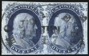 Sale Number 998, Lot Number 430, Plate Four Type II1c Blue, Ty. II (7), 1c Blue, Ty. II (7)