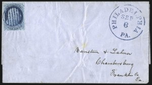 Sale Number 998, Lot Number 45, Plate One Early - Type II On Cover1c Blue, Ty. II (7), 1c Blue, Ty. II (7)
