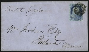 Sale Number 998, Lot Number 48, Plate One Early - Type II On Cover1c Blue, Ty. II (7), 1c Blue, Ty. II (7)