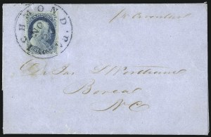 Sale Number 998, Lot Number 50, Plate One Early - Type II On Cover1c Blue, Ty. II (7), 1c Blue, Ty. II (7)