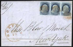 Sale Number 998, Lot Number 54, Plate One Early - Type II On Cover1c Blue, Ty. II (7), 1c Blue, Ty. II (7)