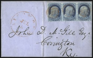 Sale Number 998, Lot Number 55, Plate One Early - Type II On Cover1c Blue, Ty. II (7), 1c Blue, Ty. II (7)