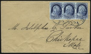 Sale Number 998, Lot Number 57, Plate One Early - Type II On Cover1c Dark Blue, Ty. II (7), 1c Dark Blue, Ty. II (7)