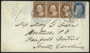 Sale Number 998, Lot Number 59, Plate One Early - Type II On Cover1c Blue, Ty. II (7), 1c Blue, Ty. II (7)
