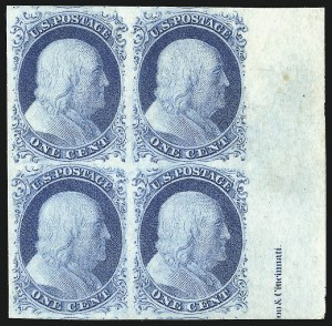 Sale Number 998, Lot Number 84, Plate One Late Imprint and Centerline Copies1c Blue, Ty. IV (9), 1c Blue, Ty. IV (9)