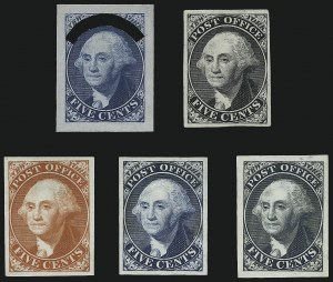 Sale Number 999, Lot Number 512, N.Y. Postmaster`s Provisionals Essays and ProofsNew York N.Y., 5c Washington, Small Die Trial Color Proofs on India Paper (9X1TC2, 9X1P2), New York N.Y., 5c Washington, Small Die Trial Color Proofs on India Paper (9X1TC2, 9X1P2)
