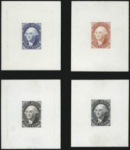 Sale Number 999, Lot Number 513, N.Y. Postmaster`s Provisionals Essays and ProofsNew York N.Y., 5c Washington, Large Die Trial Color Proofs on Thin Glazed Card (9X1TC2, 9X1P1d), New York N.Y., 5c Washington, Large Die Trial Color Proofs on Thin Glazed Card (9X1TC2, 9X1P1d)