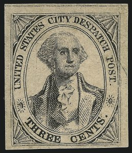 Sale Number 1005, Lot Number 217, 1842-46 United States City Despatch PostU.S. City Despatch Post, New York N.Y., 3c Black on Rosy Buff Unsurfaced (6LB2), U.S. City Despatch Post, New York N.Y., 3c Black on Rosy Buff Unsurfaced (6LB2)