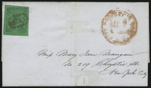 Sale Number 1005, Lot Number 255, 1846-47 Meads Post Office City Despatch(Mead's) Post Office City Despatch, New York N.Y., 2c Black on Green Glazed (40L2), (Mead's) Post Office City Despatch, New York N.Y., 2c Black on Green Glazed (40L2)