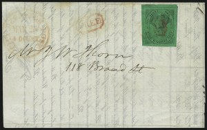 Sale Number 1005, Lot Number 261, 1847 Cummings & Wrights Post Office City Despatch(Cummings and Wright) Post Office City Despatch, New York N.Y., 2c Black on Green Glazed (40L2), (Cummings and Wright) Post Office City Despatch, New York N.Y., 2c Black on Green Glazed (40L2)