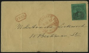 Sale Number 1005, Lot Number 262, 1847 Cummings & Wrights Post Office City Despatch(Cummings and Wright) Post Office City Despatch, New York N.Y., 2c Black on Green Glazed (40L2), (Cummings and Wright) Post Office City Despatch, New York N.Y., 2c Black on Green Glazed (40L2)