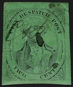 Sale Number 1005, Lot Number 263, 1847 Cummings & Wrights Post Office City Despatch(Cummings and Wright) Post Office City Despatch, New York N.Y., 2c Black on Green Glazed (40L2), (Cummings and Wright) Post Office City Despatch, New York N.Y., 2c Black on Green Glazed (40L2)