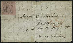 Sale Number 1005, Lot Number 265, 1847 Cummings & Wrights Post Office City Despatch(Cummings and Wright) Post Office City Despatch, New York N.Y., 2c Black on Pink Glazed (40L3), (Cummings and Wright) Post Office City Despatch, New York N.Y., 2c Black on Pink Glazed (40L3)