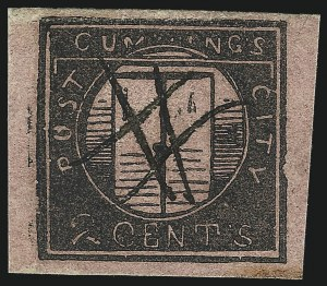 Sale Number 1005, Lot Number 267, 1847 Cummings & Wrights Post Office City DespatchCummings' City Post, New York N.Y., 2c Black on Rose Glazed (55L1), Cummings' City Post, New York N.Y., 2c Black on Rose Glazed (55L1)