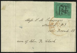 "Sale Number 1005, Lot Number 278, 1847-52 Coles Post Office City Despatch(Cole's) Post Office City Despatch, New York N.Y., 2c Black on Green Glazed, Hand-Etched Sideways ""C"" at Left (40L4b), (Cole's) Post Office City Despatch, New York N.Y., 2c Black on Green Glazed, Hand-Etched Sideways ""C"" at Left (40L4b)"