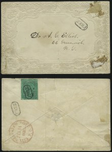 "Sale Number 1005, Lot Number 279, 1847-52 Coles Post Office City Despatch(Cole's) Post Office City Despatch, New York N.Y., 2c Black on Green Glazed, Hand-Etched Sideways ""C"" at Left (40L4b), (Cole's) Post Office City Despatch, New York N.Y., 2c Black on Green Glazed, Hand-Etched Sideways ""C"" at Left (40L4b)"