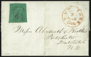 "Sale Number 1005, Lot Number 280, 1847-52 Coles Post Office City Despatch(Cole's) Post Office City Despatch, New York N.Y., 2c Black on Green Glazed, Hand-Etched Sideways ""C"" at Left (40L4b), (Cole's) Post Office City Despatch, New York N.Y., 2c Black on Green Glazed, Hand-Etched Sideways ""C"" at Left (40L4b)"