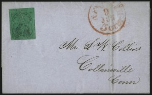 "Sale Number 1005, Lot Number 281, 1847-52 Coles Post Office City Despatch(Cole's) Post Office City Despatch, New York N.Y., 2c Black on Green Glazed, Hand-Etched Sideways ""C"" at Left (40L4b), (Cole's) Post Office City Despatch, New York N.Y., 2c Black on Green Glazed, Hand-Etched Sideways ""C"" at Left (40L4b)"