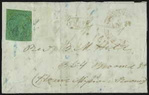 "Sale Number 1005, Lot Number 283, 1847-52 Coles Post Office City Despatch(Cole's) Post Office City Despatch, New York N.Y., 2c Black on Green Glazed, Hand-Etched Sideways ""C"" at Left (40L4b), (Cole's) Post Office City Despatch, New York N.Y., 2c Black on Green Glazed, Hand-Etched Sideways ""C"" at Left (40L4b)"