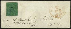 "Sale Number 1005, Lot Number 284, 1847-52 Coles Post Office City Despatch(Cole's) Post Office City Despatch, New York N.Y., 2c Black on Green Glazed, ""C at Right Only"", Hand-Etched Sideways ""C"" at Left (40L4c), (Cole's) Post Office City Despatch, New York N.Y., 2c Black on Green Glazed, ""C at Right Only"", Hand-Etched Sideways ""C"" at Left (40L4c)"