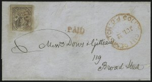 "Sale Number 1005, Lot Number 290, 1847-52 Coles Post Office City Despatch(Cole's) Post Office City Despatch, New York N.Y., 2c Black on Grayish, ""CC"" at Sides (40L5), (Cole's) Post Office City Despatch, New York N.Y., 2c Black on Grayish, ""CC"" at Sides (40L5)"