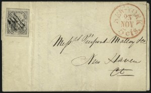 "Sale Number 1005, Lot Number 300, 1847-52 Coles Post Office City Despatch(Cole's) Post Office City Despatch, New York N.Y., 2c Black on Grayish, Hand-Etched Sideways ""C"" at Left (40L5b), (Cole's) Post Office City Despatch, New York N.Y., 2c Black on Grayish, Hand-Etched Sideways ""C"" at Left (40L5b)"