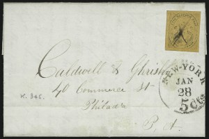 "Sale Number 1005, Lot Number 313, 1847-52 Coles Post Office City Despatch(Cole's) Post Office City Despatch, New York N.Y., 2c Black on Yellowish Buff Glazed, ""CC"" at Sides (40L8), (Cole's) Post Office City Despatch, New York N.Y., 2c Black on Yellowish Buff Glazed, ""CC"" at Sides (40L8)"
